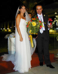 Delivering a flower arrangement to a wedding in full swing in Nicosia in Cyprus