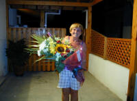 Delivering a nice big bunch of flowers in Cyprus