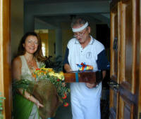 Delivering a bouquet and wine box of goodies in Cyprus - gifts for men as well as women