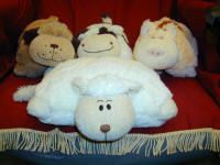 Our lovely cuddly cows. pigs and dogs, they fold up and stand proud or lie down to make a very soft pillow.