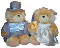 Forever Friends Bride and Groom Teddy Bears for delivery in Cyprus with flowers and plants